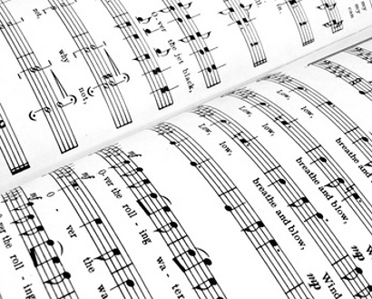 close-up of sheet music